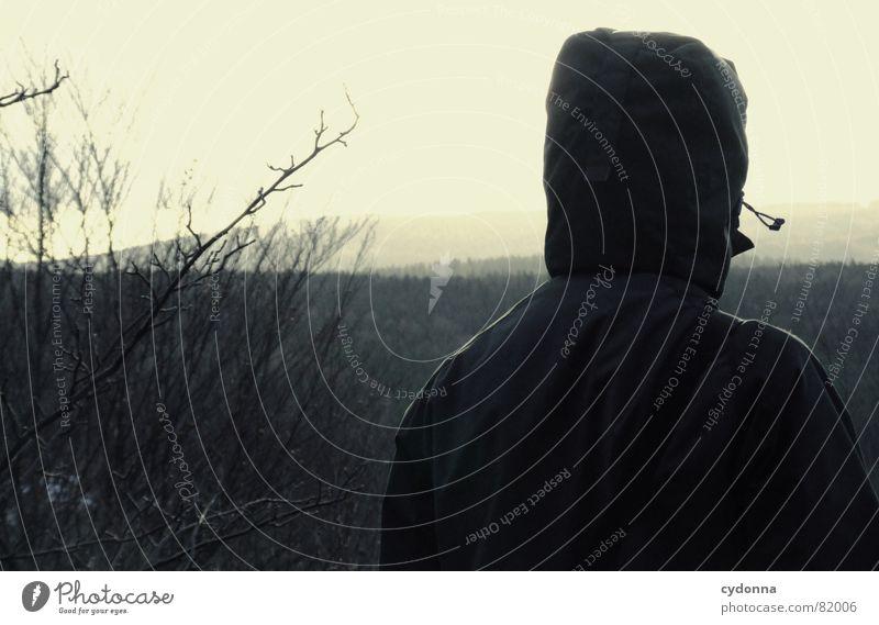 far away Mensch Himmel Mann Natur Baum Einsamkeit Winter Ferne Landschaft dunkel Berge u. Gebirge Wetter Rücken Perspektive trist Spaziergang