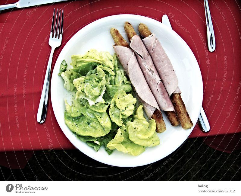 Gartengaudi Gedeck Kochschinken Verabredung Spargel Frühling Schinken Salatbeilage Dressing Teller Kräuter & Gewürze Sommer Besteck kochen & garen frisch