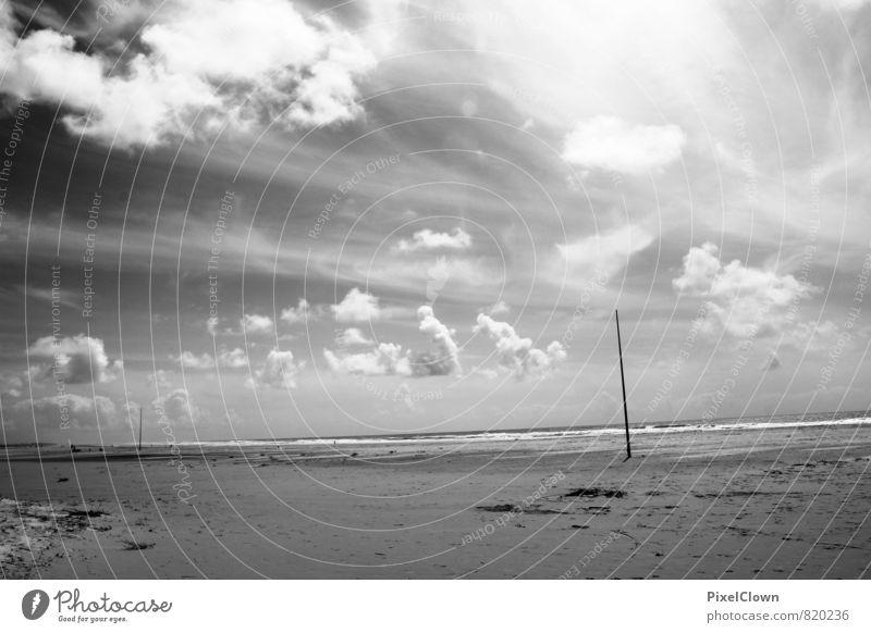 Strandimpressionen Himmel Natur Ferien & Urlaub & Reisen weiß Wasser Sommer Meer Erholung Landschaft Freude Ferne schwarz Küste Schwimmen & Baden Glück