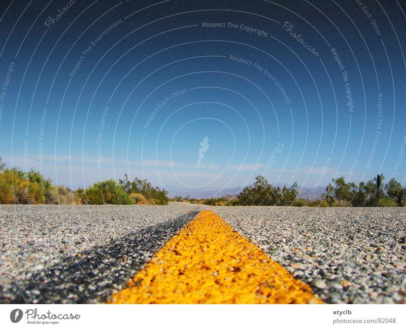 Route 66 Landschaft Sträucher Wüste Straße Autobahn außergewöhnlich frei hell gelb Joshua Tree Asphalt Nationalpark Kalifornien Los Angeles Richtung USA Ferne