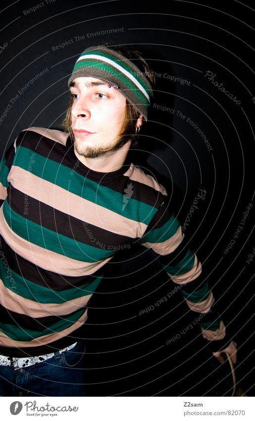 skatevision Skateboarding Zukunft stehen Mann lässig Stil Stirnband Bart Denken Erscheinung think Parkdeck portraite Mensch anlehnen festhalten modern