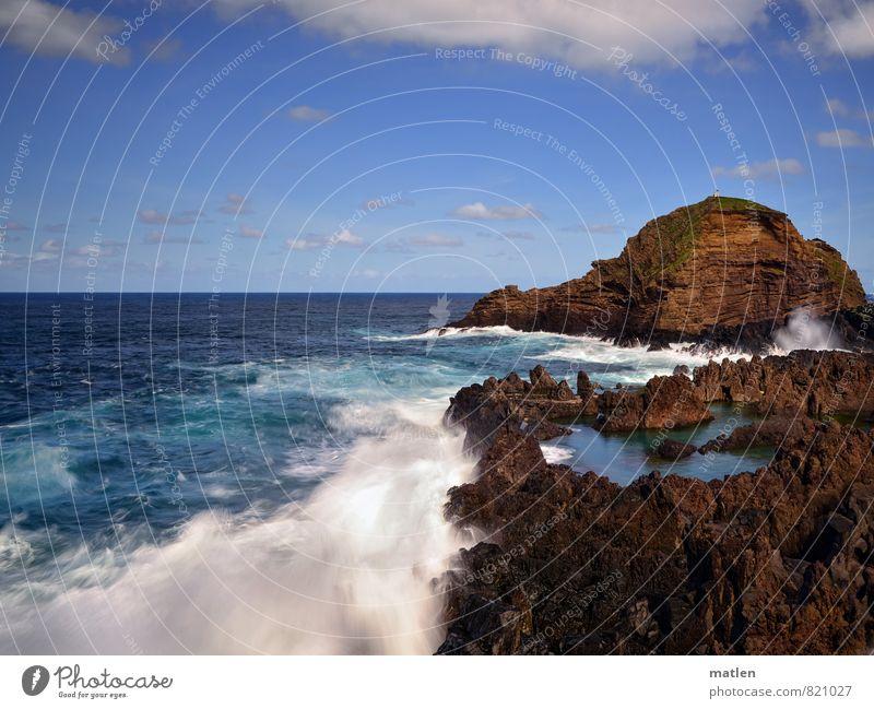 pool Natur Landschaft Wasser Himmel Wolken Horizont Sonnenlicht Frühling Wetter Schönes Wetter Felsen Wellen Küste Meer Insel Menschenleer frisch maritim blau