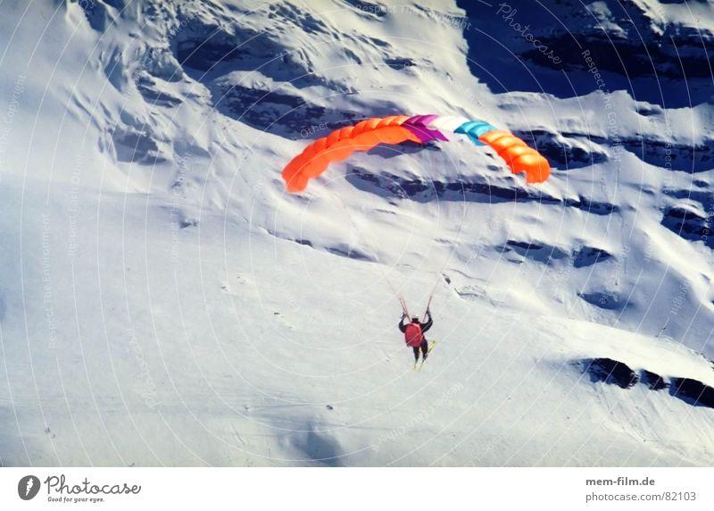 freiheit Sport Freiheit Landschaft Freizeit & Hobby fliegen Alpen Sportler Wintersport Gleitschirmfliegen Skifahrer Funsport Schneebedeckte Gipfel Fluggerät