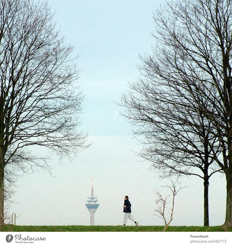 Vorsicht, Fernsehturm! Freizeit & Hobby Ferne Winter Sport Joggen Telekommunikation Informationstechnologie Mensch Mann Erwachsene 1 Himmel Horizont Herbst Baum