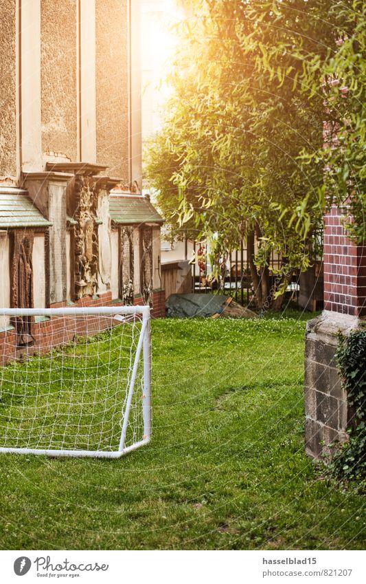 Elf_Meter Freizeit & Hobby Spielen Städtereise Sommer Sport Fußball Sportstätten Fußballplatz Garten Park Wiese Tor Platz Nische Gegenlicht Hinterhof Gras
