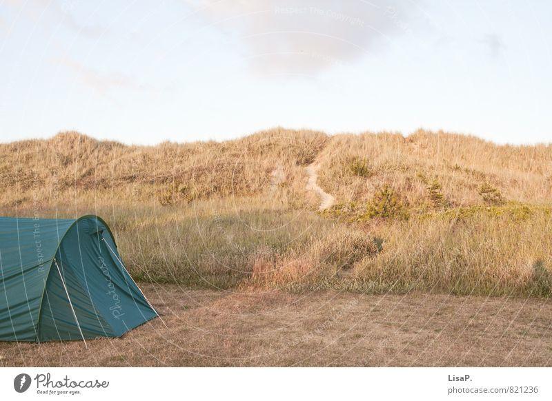 Dünencamping Natur Ferien & Urlaub & Reisen Sommer Meer Erholung ruhig Strand Ferne Leben Küste Sand Stimmung Zufriedenheit Lebensfreude Abenteuer Hügel