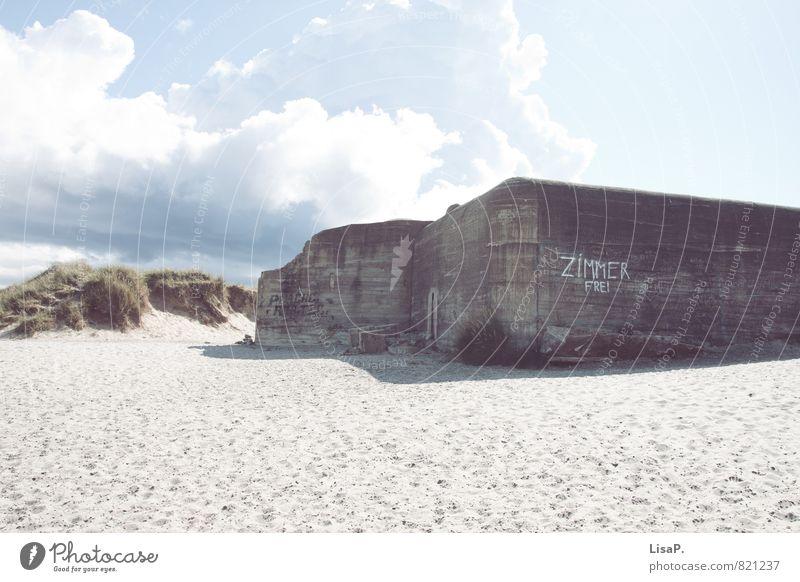 Zimmer frei Ferien & Urlaub & Reisen Abenteuer Freiheit Sommer Sommerurlaub Sonne Strand Stranddüne Dünengras Sand Himmel Wolken Schönes Wetter Ostsee Meer