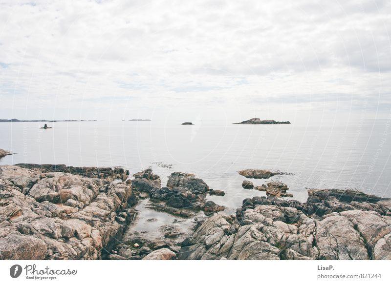 felsig Natur Himmel Wolken Felsen Küste Bucht Fjord Nordsee Meer Granit Norwegen Norwegenurlaub frei blau grau ruhig Fernweh Einsamkeit Abenteuer