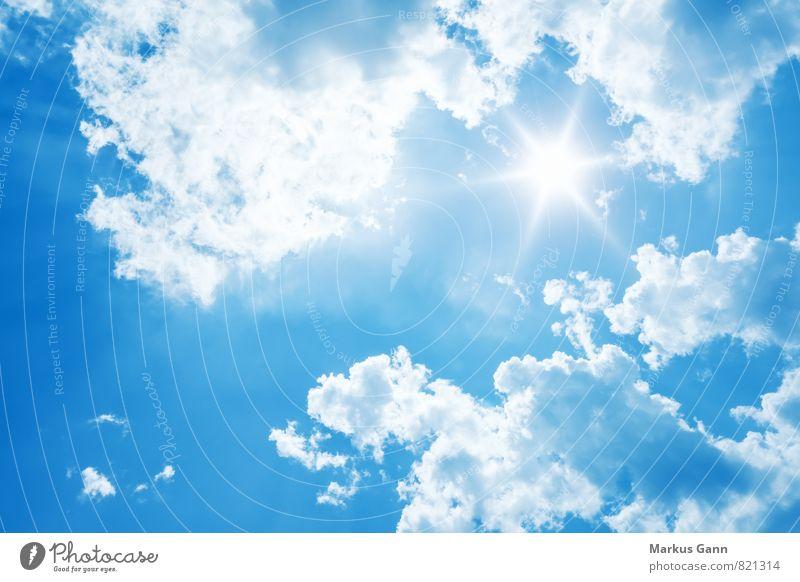 Strahlender Sonnenschein Natur Luft Himmel nur Himmel Wolken Sommer Wetter Schönes Wetter Gefühle Optimismus Hintergrundbild blau Sonnenstrahlen strahlend