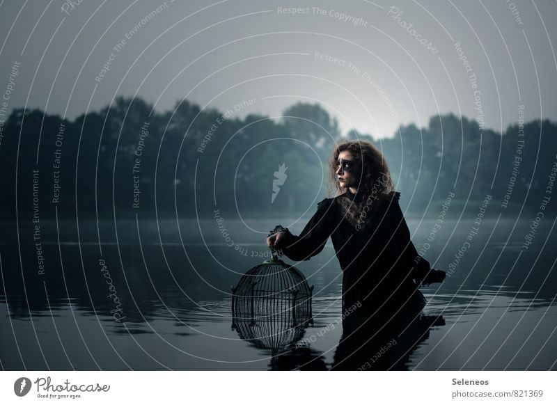 . Mensch feminin Frau Erwachsene 1 Umwelt Natur Küste See Bach Fluss Vogelkäfig träumen Traurigkeit dunkel nass natürlich Gefühle Stimmung Trauer Einsamkeit