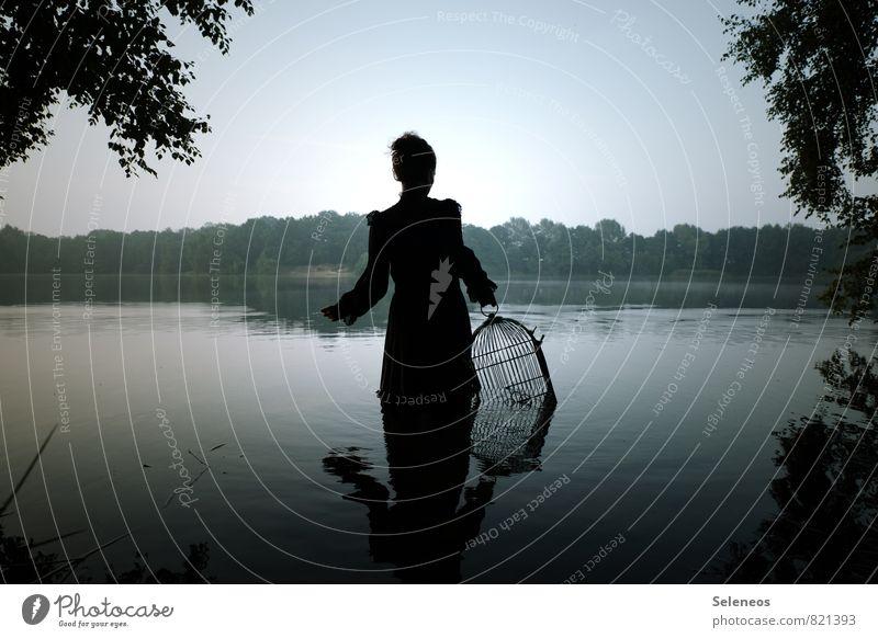 wenn dann zusammen Mensch feminin Frau Erwachsene 1 Umwelt Natur Landschaft Wasser Himmel Wolkenloser Himmel Horizont Sommer Baum Seeufer Flussufer Kleid