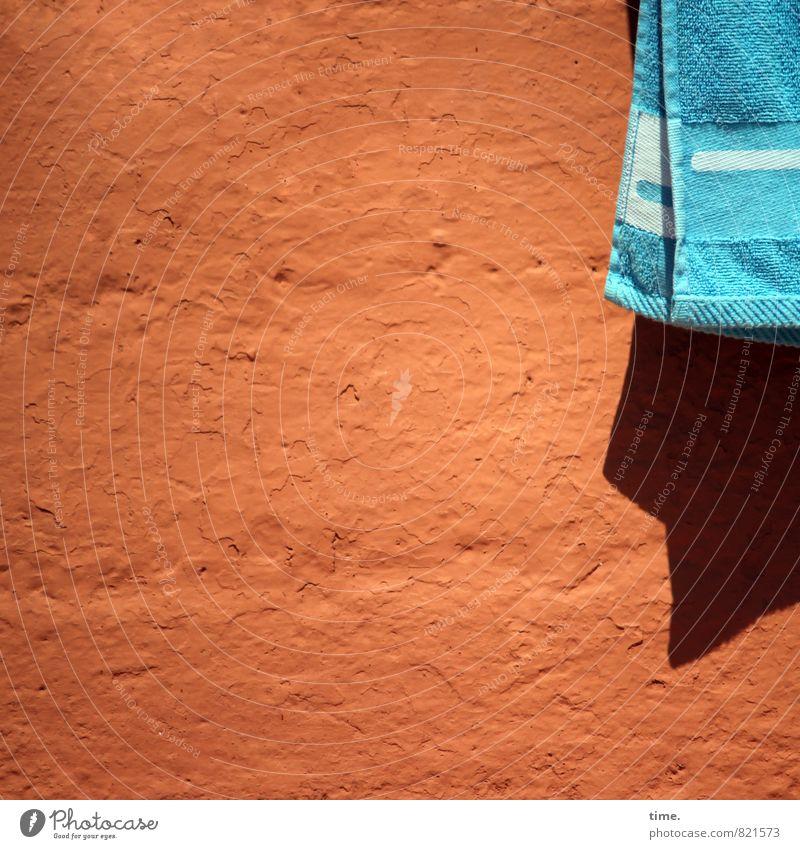 Frauchen ist schwimmen Ferien & Urlaub & Reisen blau Sommer Erholung ruhig Strand Ferne Wand Mauer Schwimmen & Baden Stein Stimmung Fassade orange Ordnung Beton