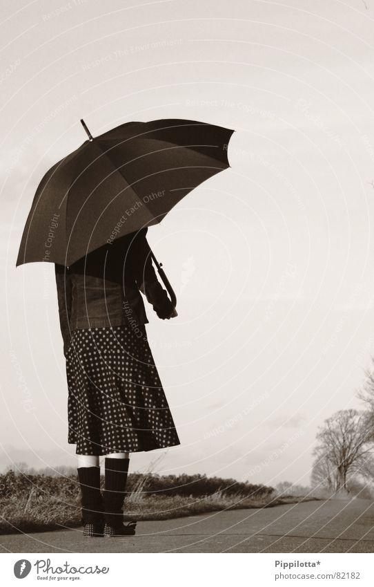 kleine feine Dame Frau Einsamkeit Ferne Straße Herbst Regen Wetter Regenschirm