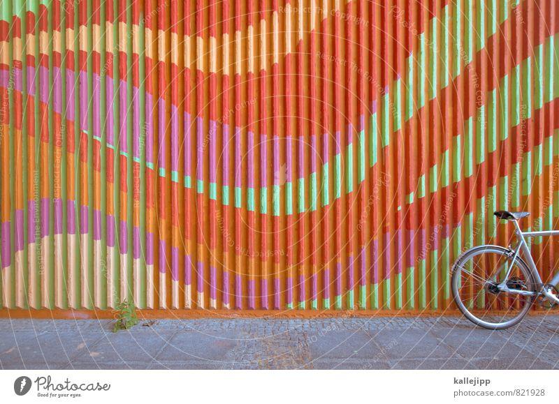 ecstasy rider Fahrradfahren mehrfarbig Linie Abstellplatz Kurve Farbfoto Außenaufnahme Menschenleer Licht Schatten Kontrast
