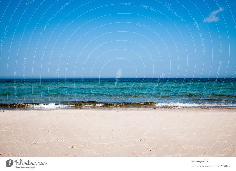 Sehnsuchtsmeer Himmel Natur blau Wasser Sommer Meer Wolken Strand Ferne Küste Sand Horizont Wellen Schönes Wetter Ostsee Rügen