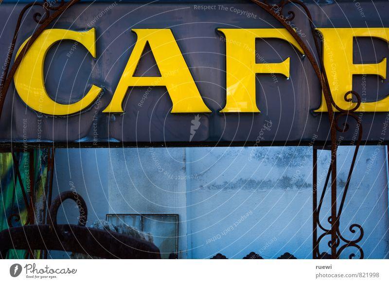 CAFE blau alt Stadt gelb Essen Lebensmittel Metall Freizeit & Hobby Schilder & Markierungen Dekoration & Verzierung Schriftzeichen genießen Getränk Zeichen