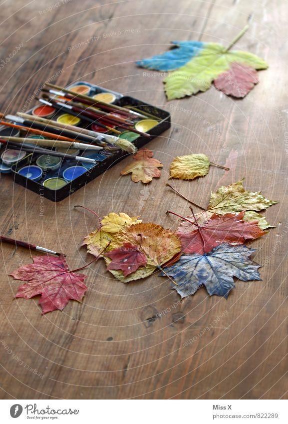 Malen Freizeit & Hobby Spielen Basteln Kinderspiel Herbst Blatt Holz mehrfarbig Kreativität Herbstlaub malen Pinsel Farbkasten Farbstoff Farbfoto Innenaufnahme