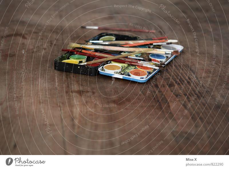 Malkasten Freizeit & Hobby Spielen Basteln dreckig mehrfarbig Konzentration Farbkasten Tisch Holztisch Bastelmaterial Pinsel Farbstoff gebraucht Kinderspiel