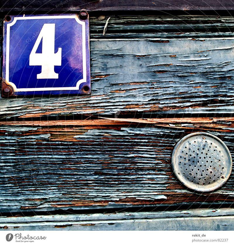 Vier alt grün blau Farbe Holz grau braun Metall Tür Ziffern & Zahlen Vergänglichkeit 4 Streifen Tor verfallen Verfall