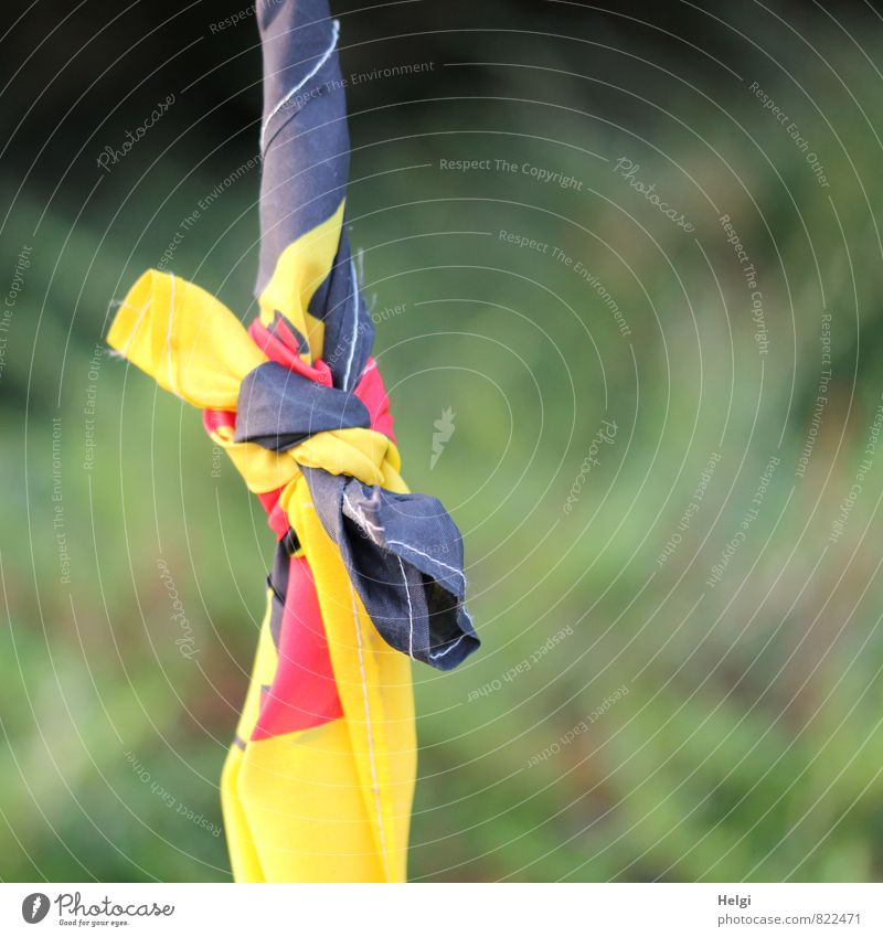 Entfaltungsmöglichkeiten | ...schland Zeichen Knoten Fahne Deutsche Flagge festhalten außergewöhnlich einzigartig gelb gold grün rot schwarz Solidarität bizarr