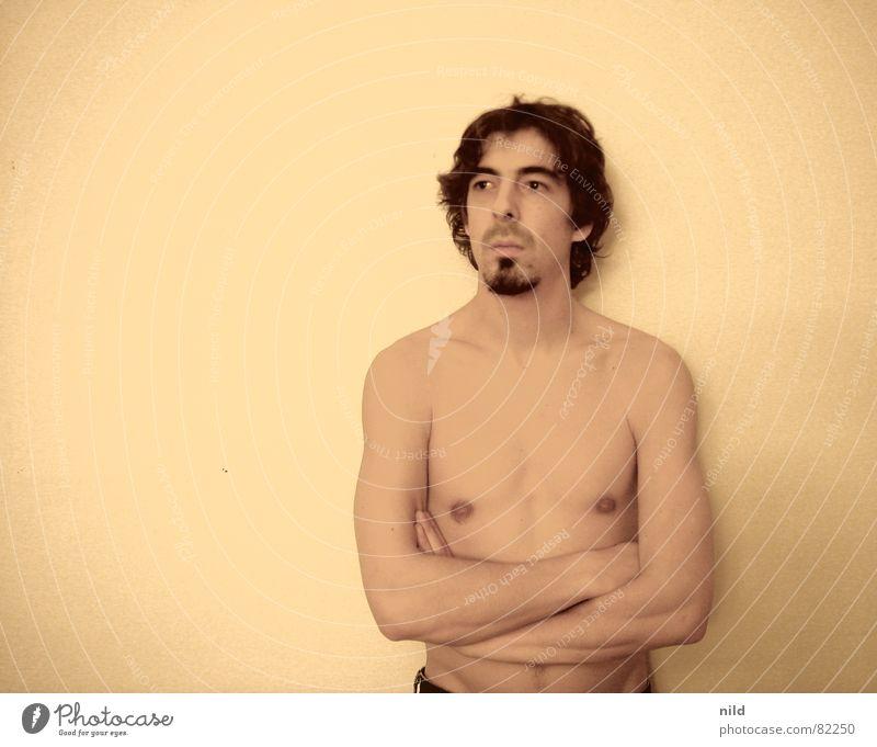 Nüchternes Portrait (Hintergrund frei wählbar) Porträt Mann Bart Oberkörper Langeweile Rausch Akt langhaarig Anschnitt Sepia Punkrock Geistesabwesend unrasiert