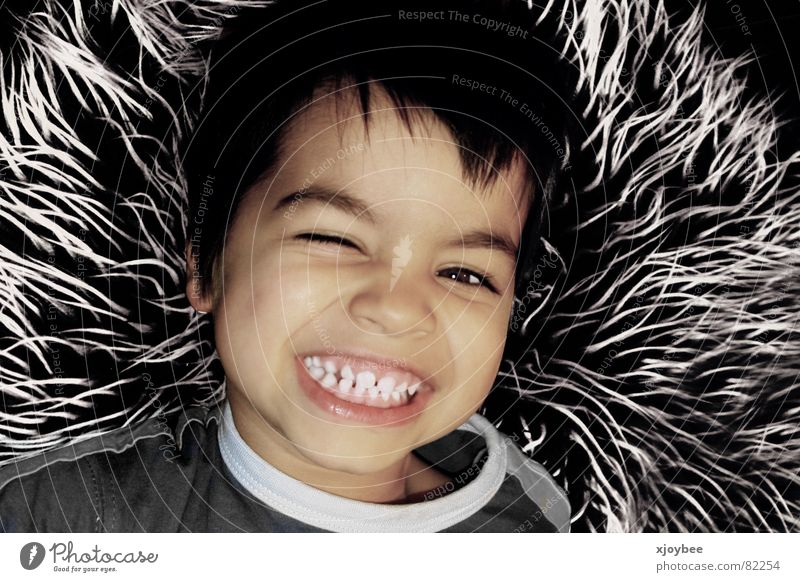 Kleiner Junge Kind Freude lachen Fell grinsen Kleinkind