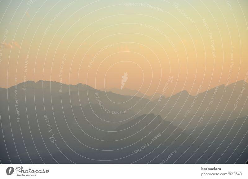 Sonnenwende Landschaft Urelemente Himmel Horizont Sommer Alpen Berge u. Gebirge Nebelhorn (Berg) Allgäuer Alpen Gipfel Abenddämmerung Sommersonnenwende leuchten