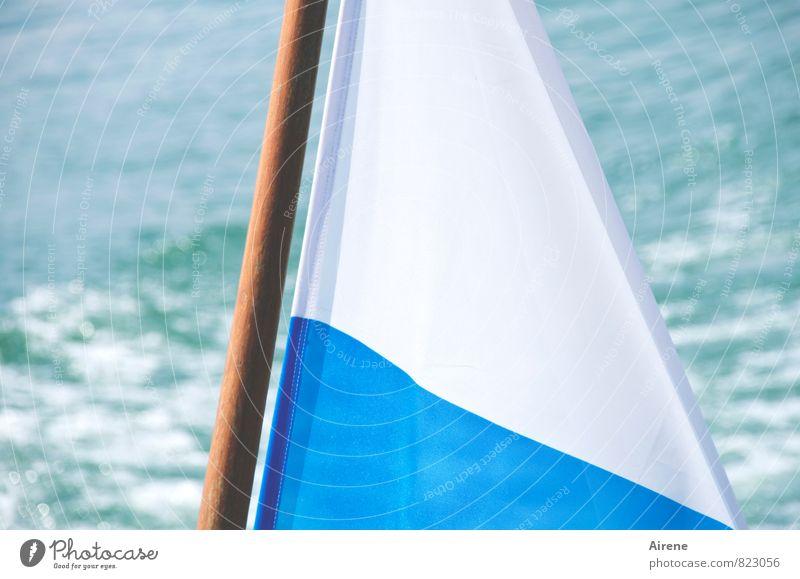 """""""da bin i dahoam"""" Ferien & Urlaub & Reisen blau weiß Wasser Sommer Bewegung Holz See hell Wasserfahrzeug Freizeit & Hobby Tourismus Fröhlichkeit Ausflug Stoff"""