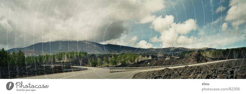 Etna-Nord Himmel grün blau schwarz Wolken Straße Wald Stein braun Brand Italien Süden Norden Lava Sizilien Ätna