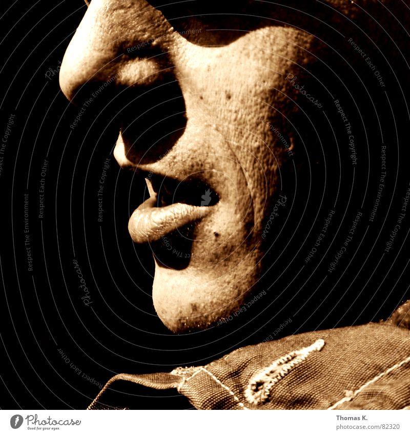 BB II Mann Gesicht schwarz Haare & Frisuren braun Glas Nase Perspektive trist Wandel & Veränderung Bild Bart Sonnenbrille beige Hippie Monochrom
