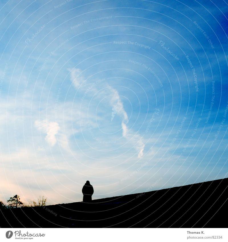 Auf Wiedersehen Mensch Himmel Wolken Herbst gehen Horizont Vergänglichkeit Abschied Wiedersehen