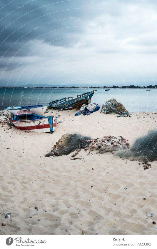 Gestrandet Natur Himmel Wolken Gewitterwolken Horizont Frühling Klima schlechtes Wetter Unwetter Wind Strand Meer Hammamet bedrohlich dunkel Endzeitstimmung