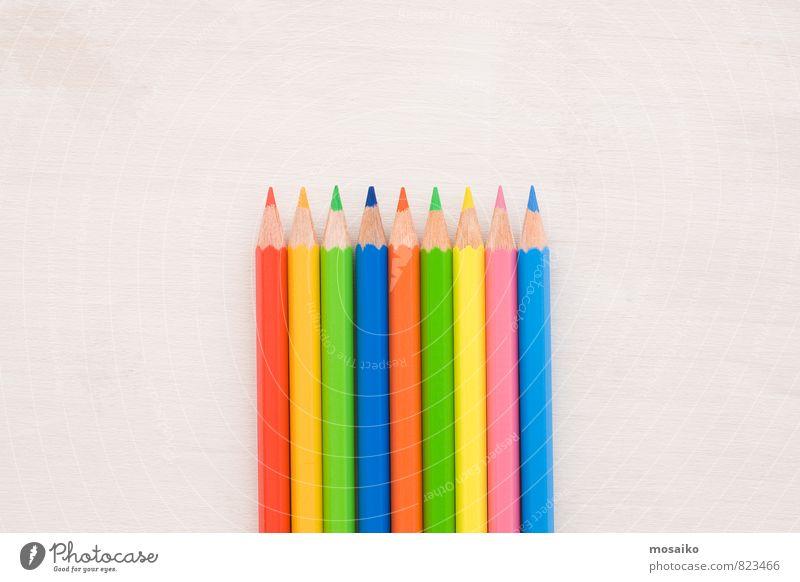 Bleistifte Schule Studium Arbeit & Erwerbstätigkeit Beruf Büroarbeit Kunst Schreibstift zeichnen hell blau gelb grün rosa rot weiß Farbe Idee innovativ