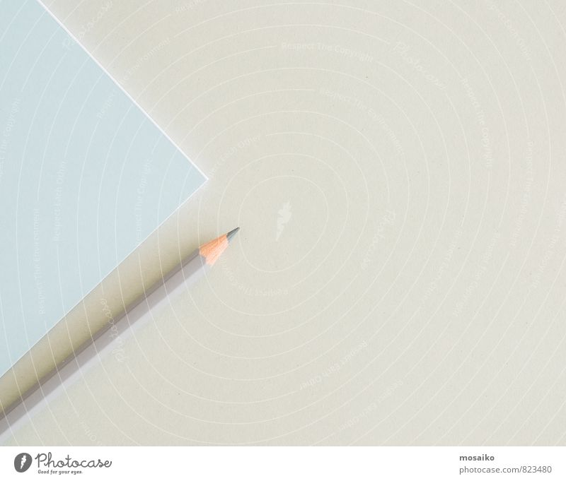 Papier und Stift blau Hintergrundbild grau Schule Arbeit & Erwerbstätigkeit Business Design Büro Erfolg lernen Kommunizieren planen Bildung Beruf