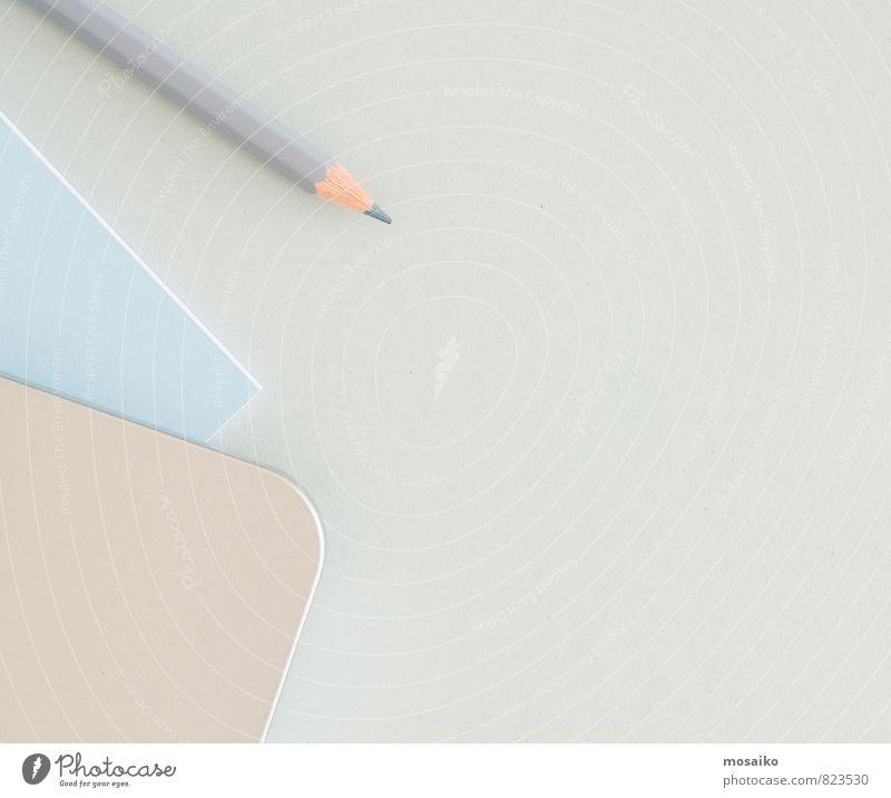 blau weiß grau Linie Kunst Schule Business Büro Design modern Aussicht Tisch Kreativität Papier Textfreiraum schreiben