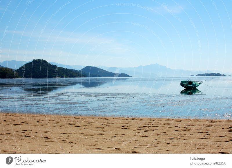 Jabaquara Beach Brasilien Sommer Blauer Himmel Strand Küste summer tanager Hill sand flea sun beach flea sunlight Sand boat blue reflection coast