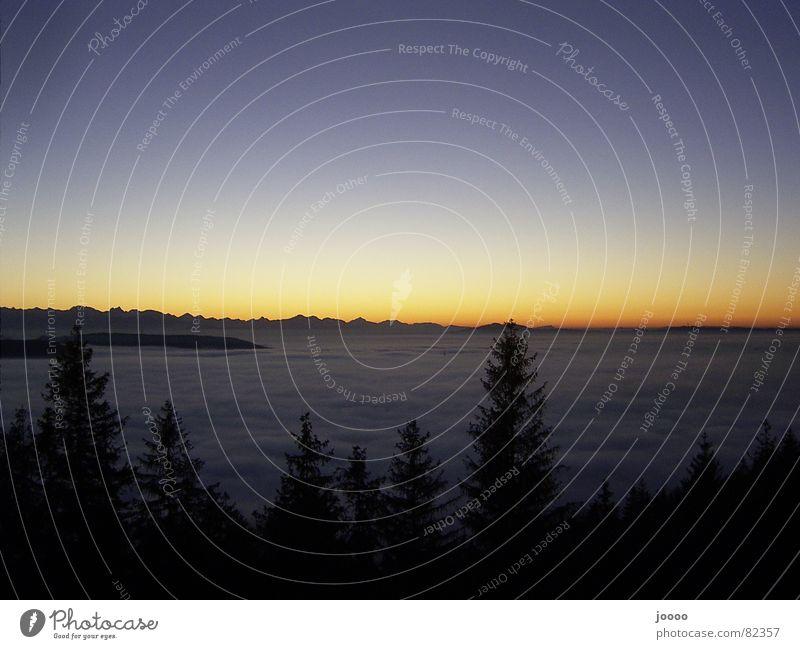 Sundown über Nebel im Tal Sonne Meer Berge u. Gebirge Alpen Decke Abenddämmerung Bergkette Himmelskörper & Weltall Schichtarbeit Nebelschleier