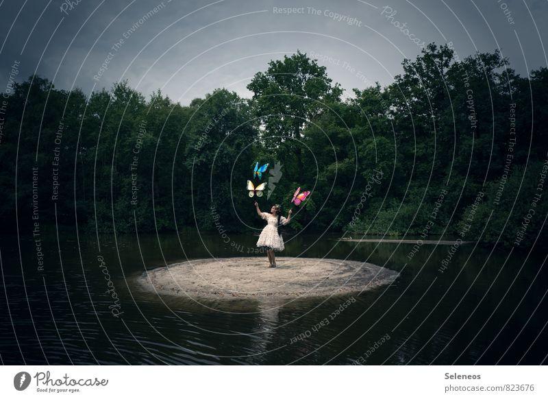 Fly away Mensch Frau Himmel Natur Wasser Sommer Sonne Baum Landschaft Ferne Umwelt Erwachsene feminin Freiheit See fliegen