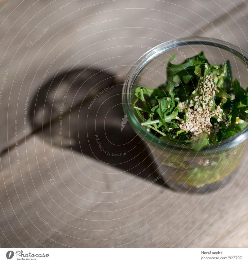 Salätchen Lebensmittel Salat Salatbeilage Ernährung Bioprodukte Vegetarische Ernährung Slowfood Glas frisch Gesundheit grün Rucola Sesam Farbfoto