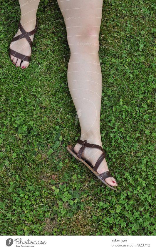 Der Römer Lifestyle elegant Mensch feminin Beine Fuß 1 18-30 Jahre Jugendliche Erwachsene liegen schlafen ruhig Erholung grüne Wiese Sandale Sommer Frühling