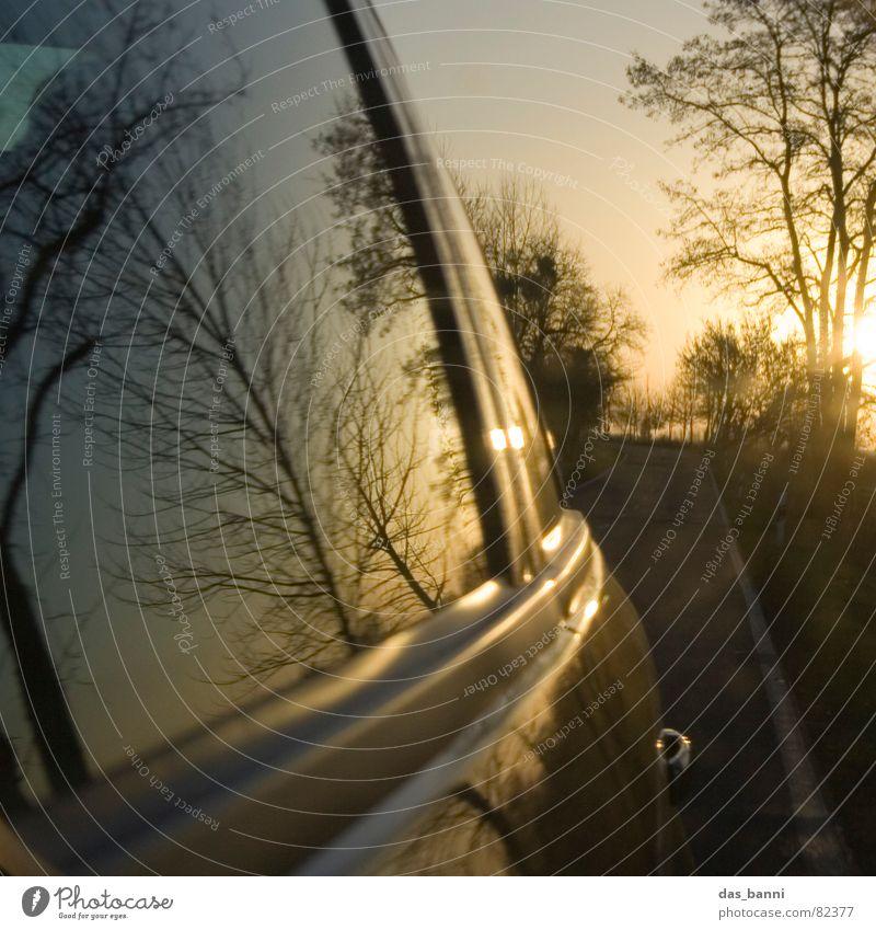 turn around Wagen Fernstraße Fahrtwind unterwegs Verkehrsmittel Geschwindigkeit Reflexion & Spiegelung Sonnenuntergang Physik Herbst kalt Baum Fenster