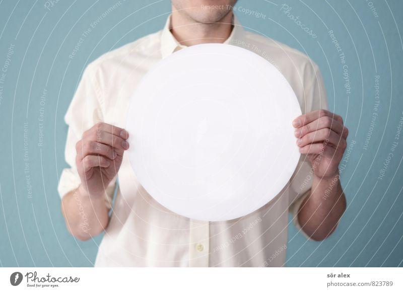 A = pi · r² Mensch Jugendliche Mann blau weiß Hand Junger Mann Erwachsene Leben sprechen maskulin Business Schilder & Markierungen Erfolg Kreis Kreativität