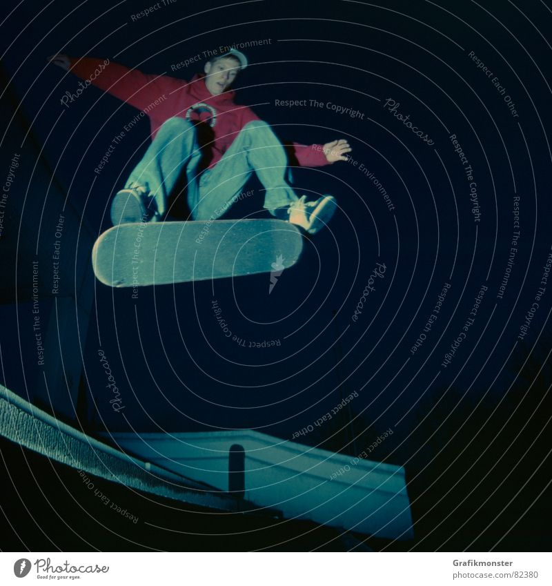 Danny_Boy Stimmung Skateboarding Quadrat Extremsport Kickflip blaustich