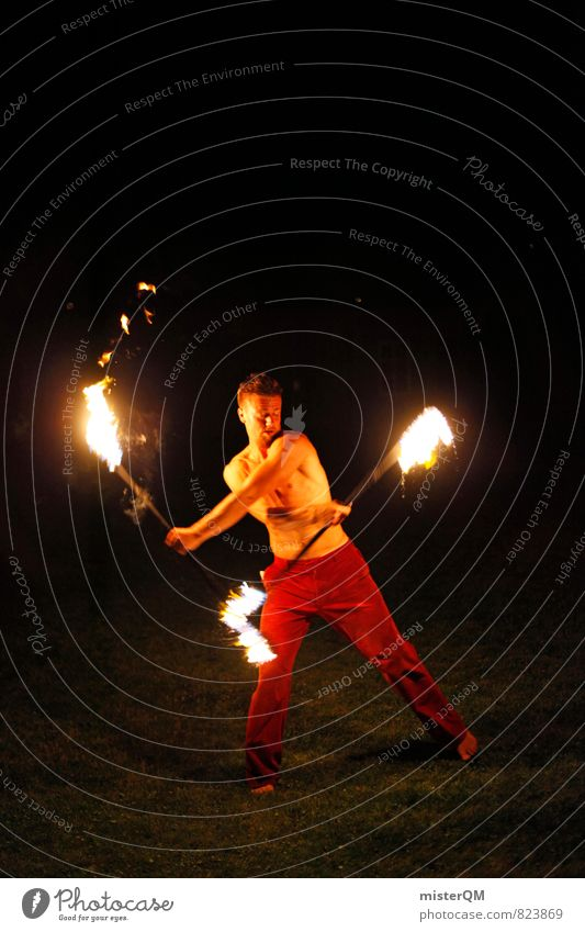 Ice and Fire II Kunst ästhetisch Feuer brennen Fackel jonglieren Mann Oberkörper Kunstwerk talentiert Politische Bewegungen Dynamik heiß Mittelalter feurig