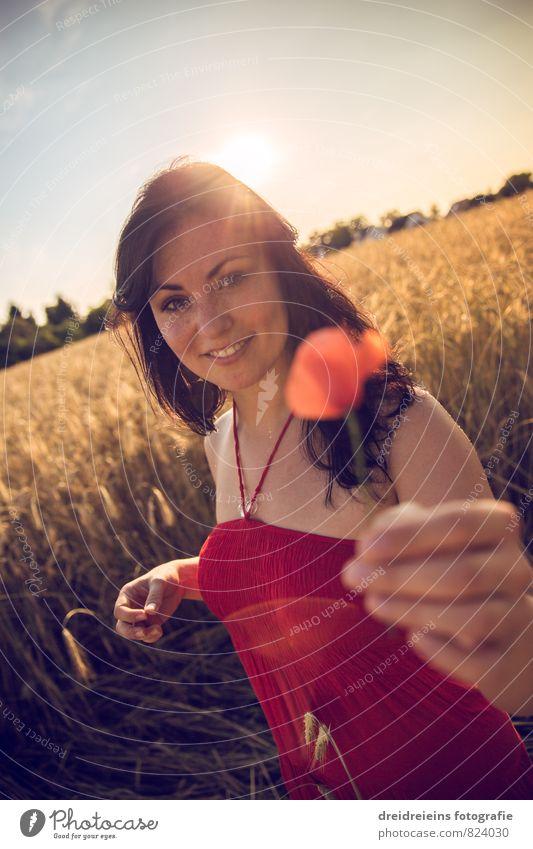 Ein Mohnblümchen für dich feminin Junge Frau Jugendliche Erwachsene 1 Mensch Natur Sonnenaufgang Sonnenuntergang Sonnenlicht Sommer Schönes Wetter Kleid