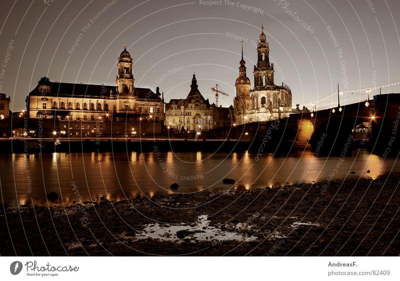 Dresden Wasser ruhig Religion & Glaube Küste Brücke Fluss Burg oder Schloss historisch Nacht Dom Pfütze Elbe Blauer Himmel Sachsen Kathedrale