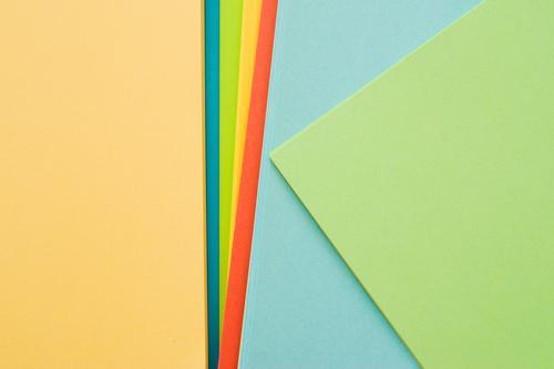 bunte Papierbögen gelb. türkis, grün, blau, greenery Lifestyle elegant Stil Design Freude Feste & Feiern Kindererziehung Bildung Schule lernen Beruf Büroarbeit