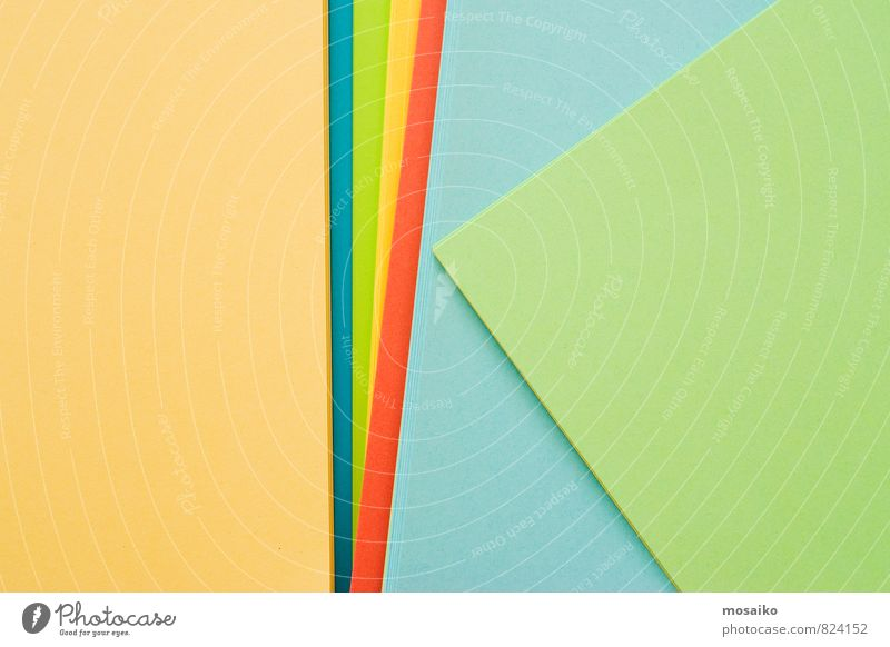 bunte Papierbögen gelb. türkis, grün, blau, greenery rot Freude Stil Feste & Feiern Schule Business Lifestyle Büro elegant Design Erfolg Fröhlichkeit lernen