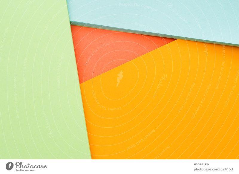 Bunte Geometrie - natural greenery - rot, orange und hellblau Lifestyle Stil Design Bildung Arbeitsplatz Büro Papier einfach elegant trendy grün Farbe