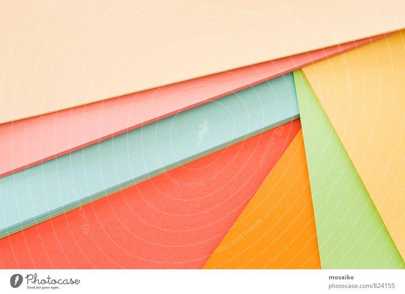 Papierbögen grün rot Freude gelb Stil Linie Kunst rosa Arbeit & Erwerbstätigkeit Freizeit & Hobby orange Ordnung Lifestyle Büro elegant Design